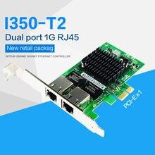 Чип Intel I350AM2 PCI-E X1 RJ45, настольный ПК, два порта, гигабитный Ethernet Lan 10/100/1000 Мбит/с, Сетевая интерфейсная карта для I350-T2