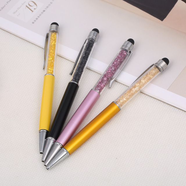 23 Colors Crystal Ballpoint Pen Fashion Creative Stylus Touch Pen for Writing Stationery Office & School Pen Ballpen ink Black 5