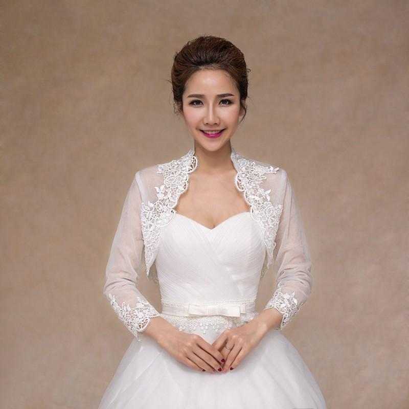 Soft Lace Wedding Jacket Elegant Long Sleeve Bolero Women Wedding Accessories Female Bridal Wraps Shawls
