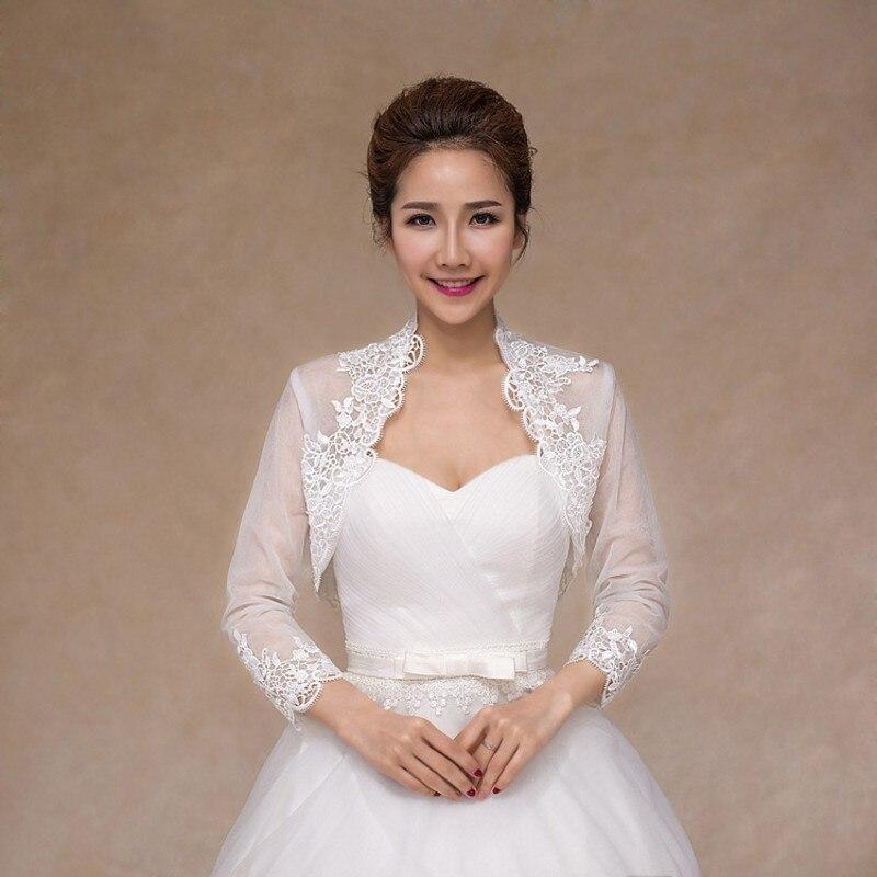 Soft Lace Wedding Jacket Elegant Long Sleeve Bolero Women Wedding Accessories Female Bridal Wraps Shawls
