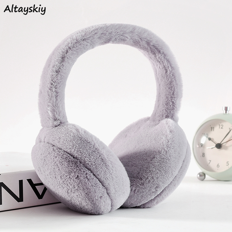Earmuffs Women Solid Warm Winter Casual All-match Thicker Soft Ladies Korean Style Adjustable Womens Accessories Harajuku New