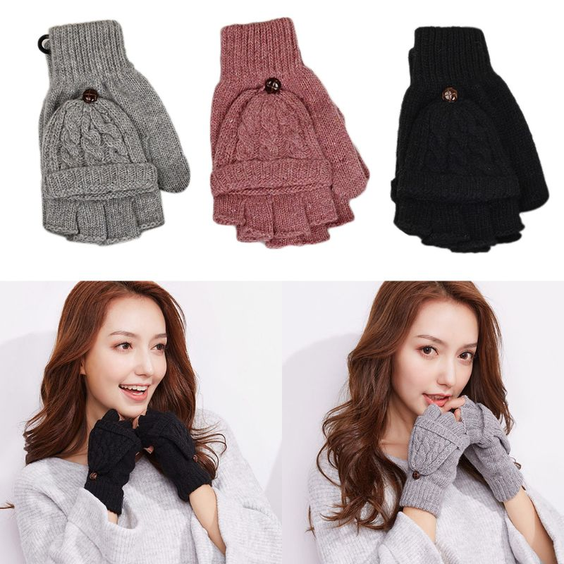 Hot Womens Cable Knit Fingerless Mittens Winter Convertible Gloves With Flip Cover Dropshipping