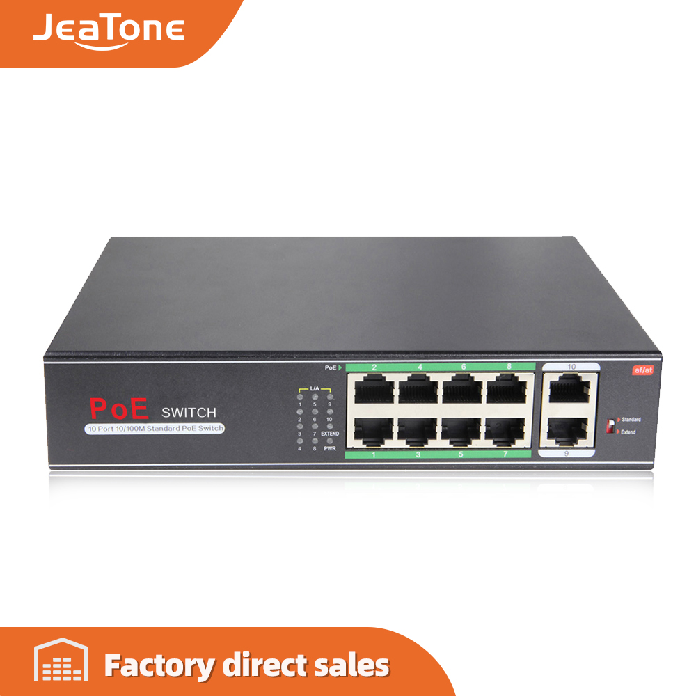 Jeatone 48V 10-port 10/100/M Network POE Switch Ethernet IEEE 802.3af/at Suitable For IP Camera/Wireless AP/CCTV Camera 250m