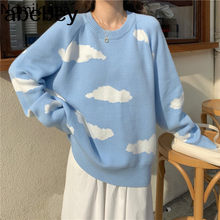 Korean Cartoon Cloud Women Sweater Chic Causal Oversized Knitted Pullover Tops 2021 Autumn New Pull Jumpers 6B805