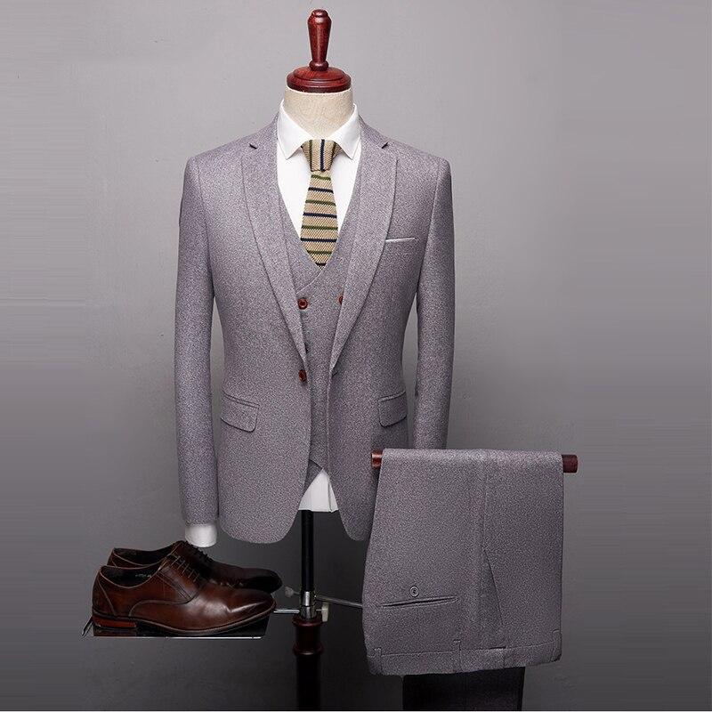 Suits For Men Slim Fit Men's Suits High Quality 3 PCS Groom Suit Wedding (Jacket+Pants+Waistcoat)