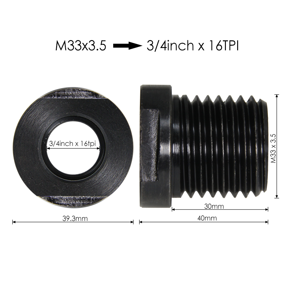 "Lathe Spindle Adapter 1"" × 8TPI / M33 x 3.5 to M18 x 2.5 Thread Chuck Insert Adapter Wood Turning Tool Accessories"