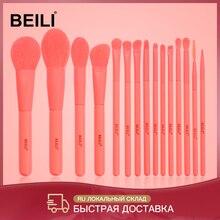 BEILI Premium 15 adet sentetik makyaj fırçalar seti mercan Nano saç pudra fondöten yüz kontur göz farı makyaj fırçaları