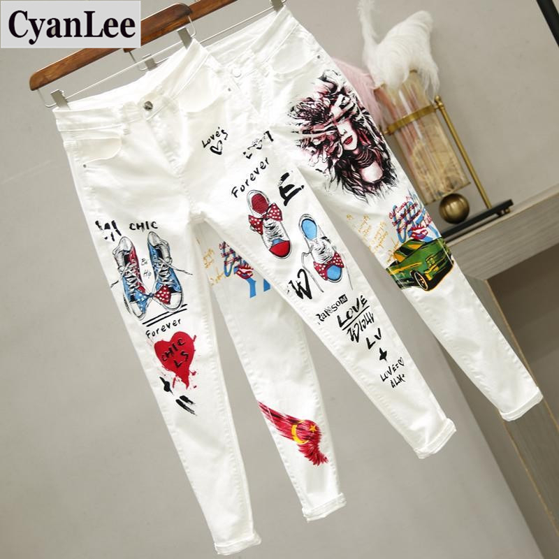 2020 New Women Skinny Jeans Slim Fit Stretchy Blue Hole Jeans Cotton Lightweight Comfy Hip Hop Graffiti Denim High Street
