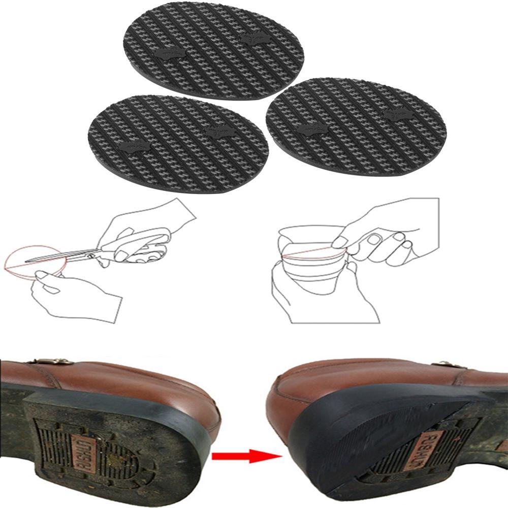 3 Pair Heel Plates Shoe Heel Taps Tips Sole Heel Repair Pad Replacement Anti Slip DIY Thicken Rubber Outsole Heel Soft Repair