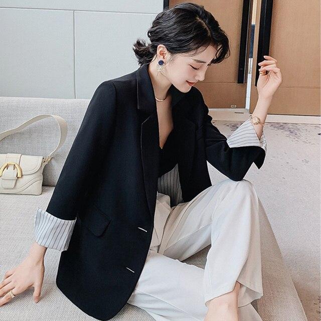 Spring Autumn Splicing Stripe Suit Coat Office Ladies Single Breasted Loose Blazer Jacket blazers women fashion Outwear