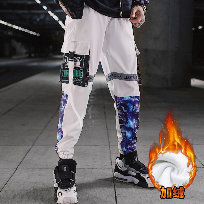 Men's Plus Velvet Cargo Pants Thick Hip Hop Streetwear Patchwork Winter Ribbon Men Harlan Pants Warm Mens Loose Trousers