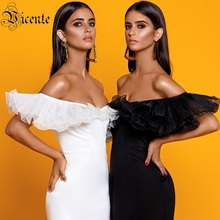 VC Free Shipping 2020 Elegant Off The Shoulder Bandage Vestidos Ruffles Slash Neck Bodycon Dress Celebrity Party Mini Dress