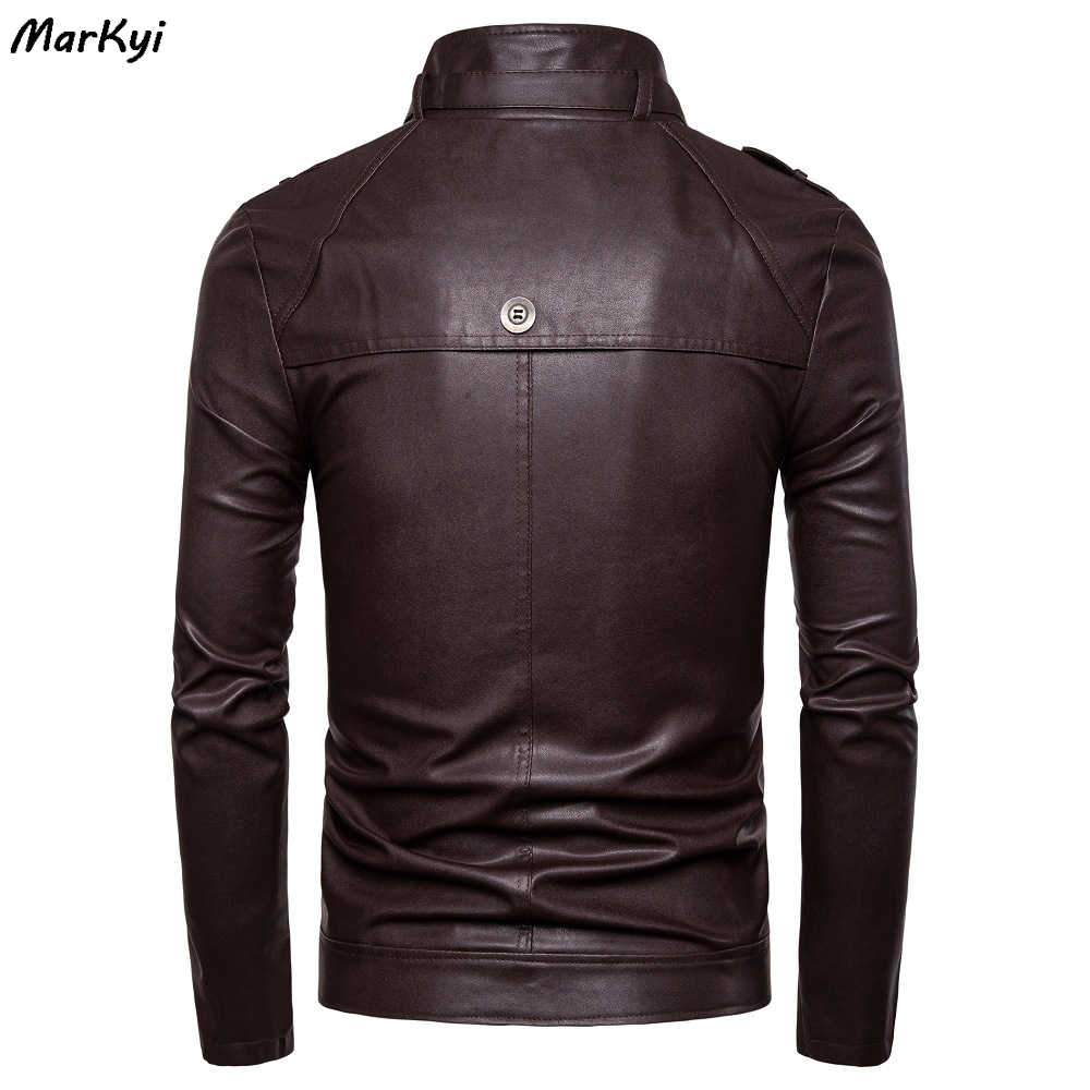 MarKyi 2020 fashion stand collar desgin mens PU jackets outwear leather zipper motorcycle leather jacket men