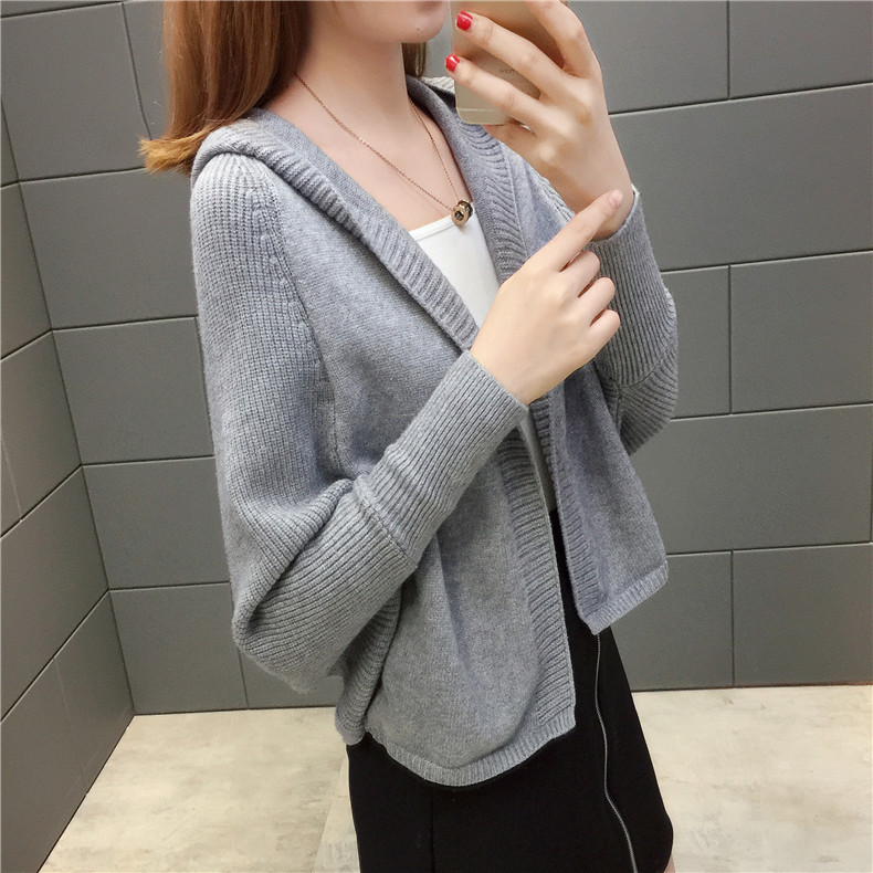 2019 Free send New style Korean loose and comfortable Autumn women Cardigan Sleeve of bat Hooded Sweater coat 131