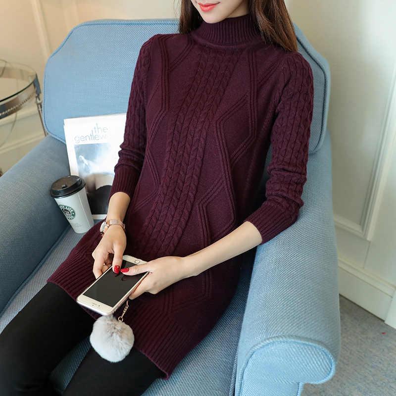 터틀넥 스웨터 여성 가을 긴 스웨터 두꺼운 겨울 Bttom 의류 니트 스웨터 Sueter Mujer LWL777