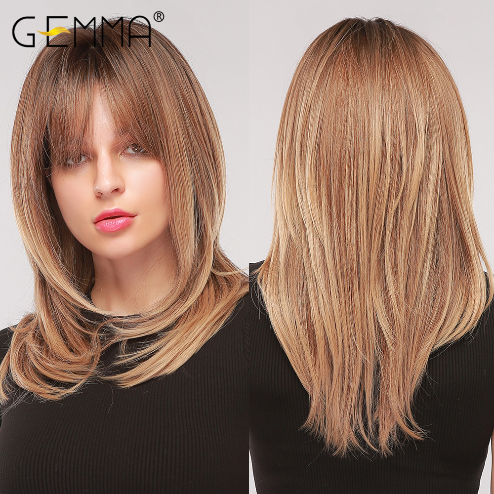 GEMMA Synthetic Medium Wavy Natural Wigs With Bangs for Black Womens African American Ombre Black Brown Cosplay Party False Hair