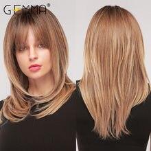 GEMMA – perruque synthétique mi-ondulée naturelle avec frange pour femmes noires, faux cheveux afro-américains, ombré, noir, brun, Cosplay, fête
