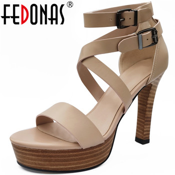 FEDONAS Wedged Platforms High Heels Pumps 2020 Summer Newest Genuine Leather Sandals For Woman Wedding Working Shoes Woman Heels