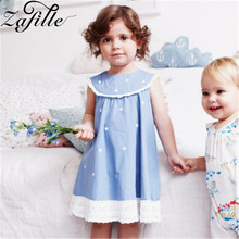 ZAFILLE Baby Girl Clothes Blue Kids Clothes Dot Printed Girls Dress Cotton Toddler Summer Dress Infant Sleeveless Dress Clothing zafille summer dress girl short sleeve baby girl clothes dot printed girls dress toddler infant baby clothing kids cute dresses