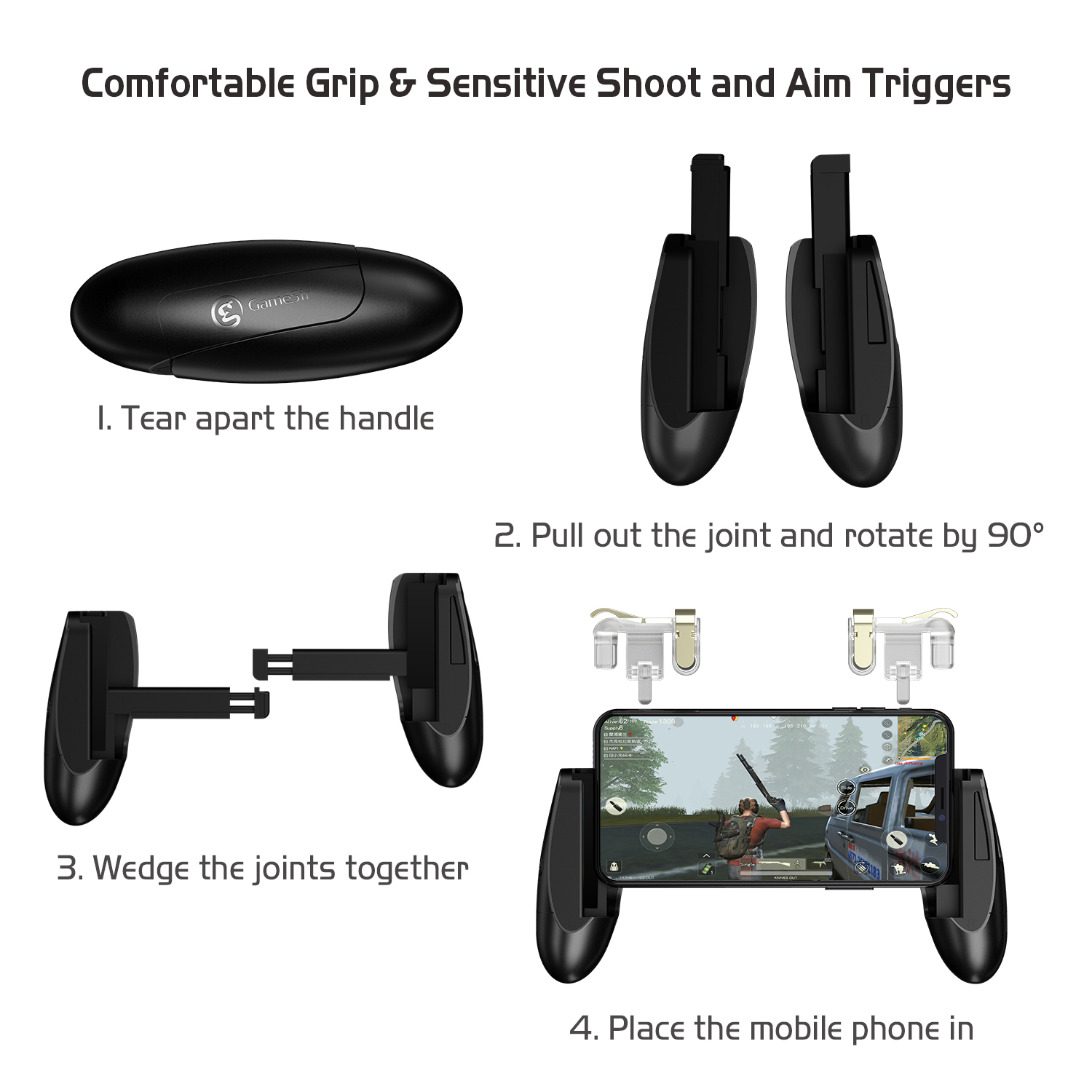 F2 Firestick Grip Joystick Mobile Game Controller for iOS and Android