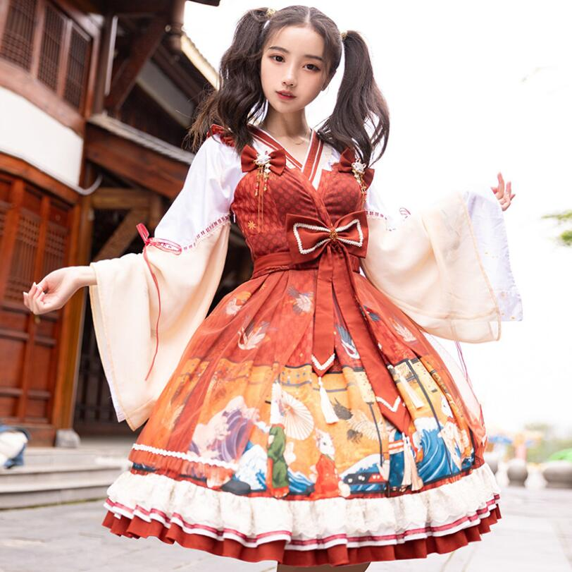 Купить японское винтажное милое платье в стиле лолиты с перекрещивающимися
