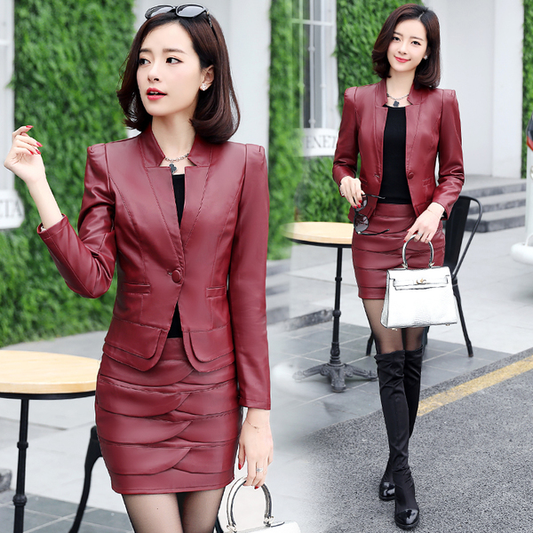 Office Lady Two Piece Leather Outfits Autumn Winter Sets Women PU Leather Blazers Jackets And Leather Skirt 2 Piece Set S-XXXL