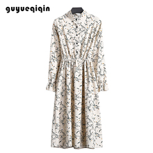 Guyueqiqin Fashion Autumn Winter Dress Corduroy Floral Women Multi-colored Tight Waist