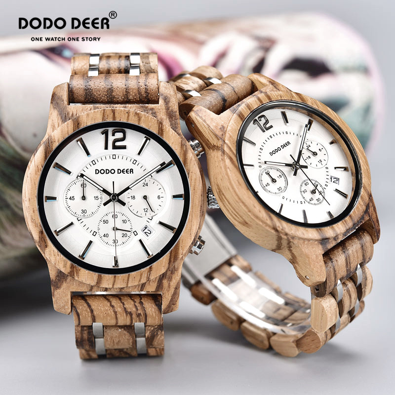 DODO DEER Wood Watches For Men And Women Fashion Cool Chronograph Calendar Couple Watch Valentine's Day Gift lover watches