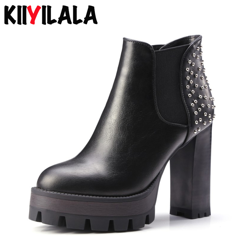 Kiiyilala Black Platform Boots Women Ankle Boots With Rivet Square Chunky Heels Autumn Winter Warm Womens Boots Big Size 33 42 in Ankle Boots from Shoes