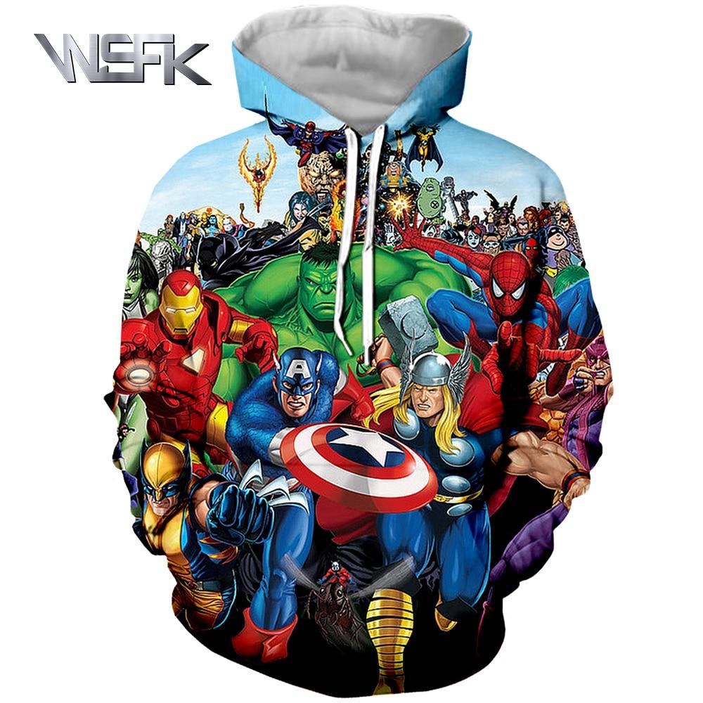 WSFK Avengers 4 US Captain Hoodie Autumn and Winter Unisex Surprise Print 3D Hoodie Pullover in Hoodies amp Sweatshirts from Men 39 s Clothing