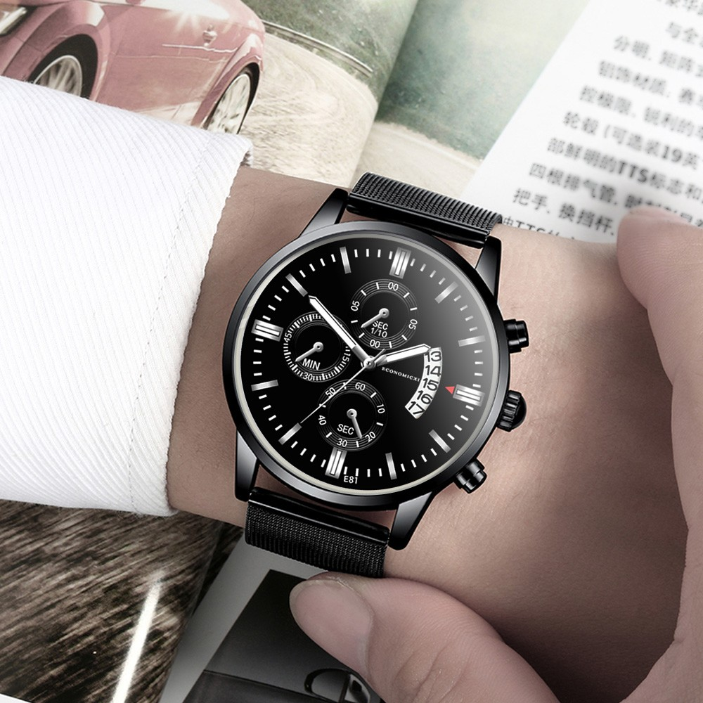 Watch Men Casual Slim Mesh Steel Sport WristWatch Mens Luxury Watches Quartz Busine Watch Clock Date Male Wrist Watch @3