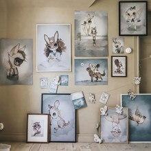 Decoração da casa nórdico pintura da lona parede arte cartaz coelho meninas meninos imagem dos desenhos animados aquarela decoração impressão para o quarto do miúdo