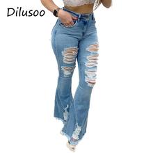 Dilusoo damskie spodnie z wysokim stanem rozkloszowane spodnie jeansowe z elastyczną dziurką Skinny dżinsy damskie zgrywanie Vintage kobiece dżinsy damskie tanie tanio COTTON Poliester spandex Pełnej długości Osób w wieku 18-35 lat DX673 DX675 High Street Powlekane Wysoka Przycisk fly
