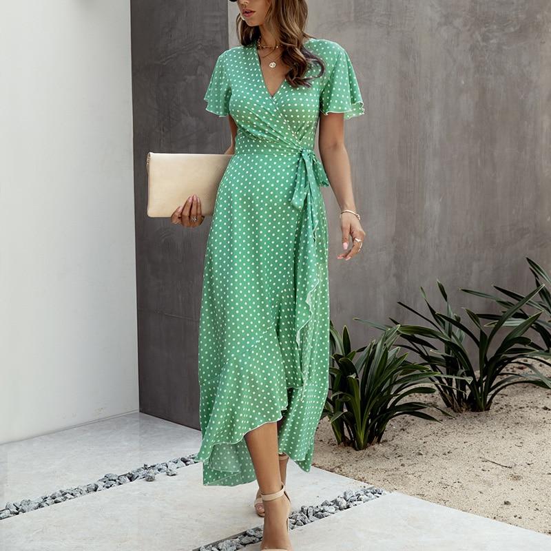 SWQZVT 2020 Fashion Short Sleeve Floral Print Women Dress New Ladies Beach Summer Dress Casual Women Long Maxi Dresses Vestidos (9)