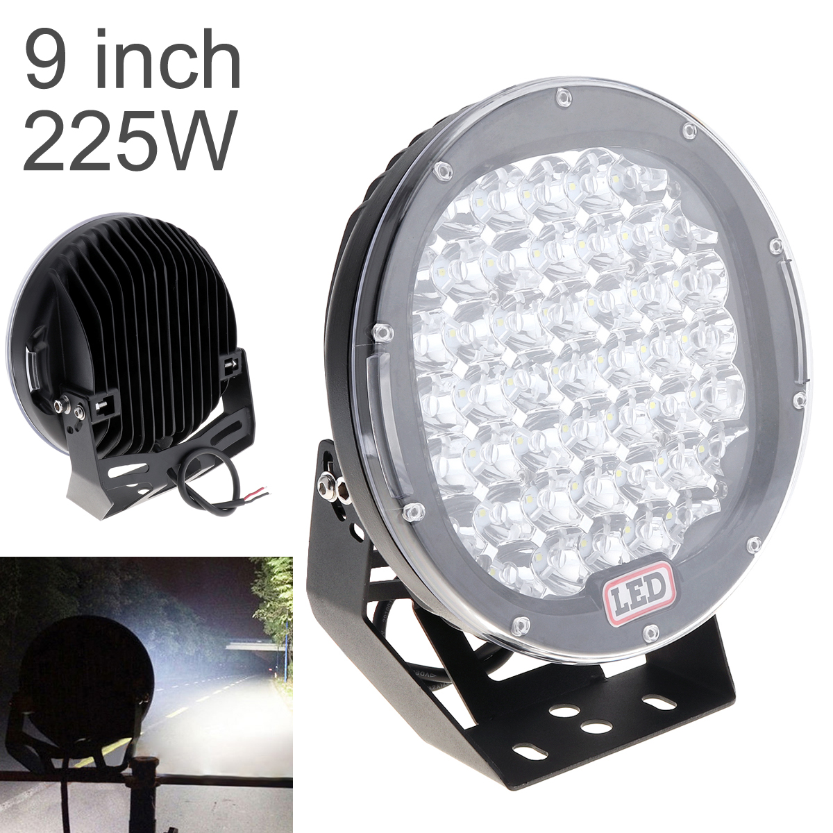 Round LED Spotlights 225W 45x  LED  Car Light Bar As Worklight Spot Light For Boating Fishing SUV Spotlight LED Lights-in Car Headlight Bulbs(LED) from Automobiles & Motorcycles