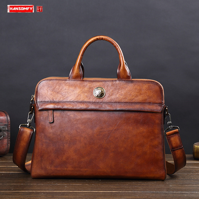 Men's Handbags Leather Men Bags Dealers Leather Shoulder Messenger Bags Casual Business Briefcases Big Genuine Tide Brands Bags