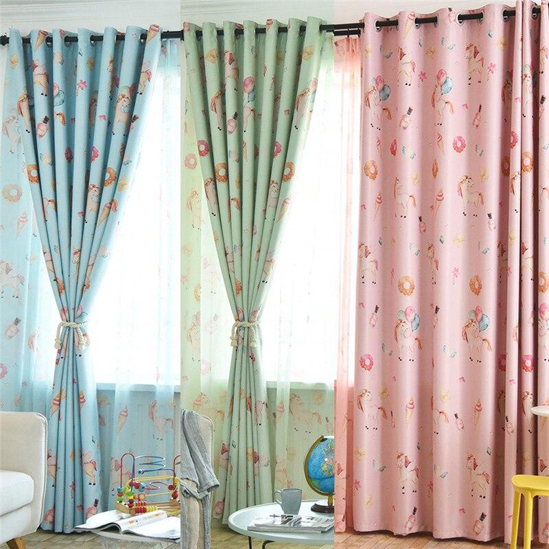 Unicorn Printed Blackout Curtains For Kids Bedroom Jinya Home Decor Cartoon Nursery Window Curtain Panels Living Room Kitchen