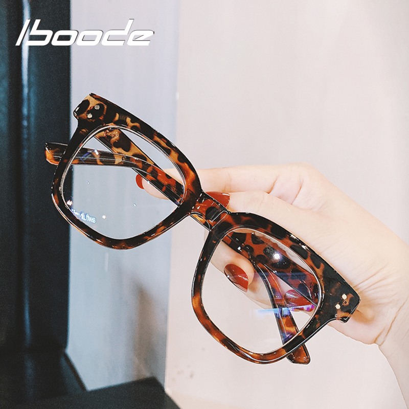 Iboode Oversized Square Glasses Frame Women Men Trendy Big Frame Spectacles Frames For Ladies Optical Eye Glasses Oculos Female