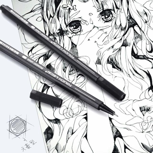 10 Pcs/Set Pigment Liner Micron Ink Marker Pen 0.05 0.1 0.2 0.3 0.4 0.5 0.6 0.8 1.0 Brush Tip Black Fineliner Sketch Drawing Pen 3