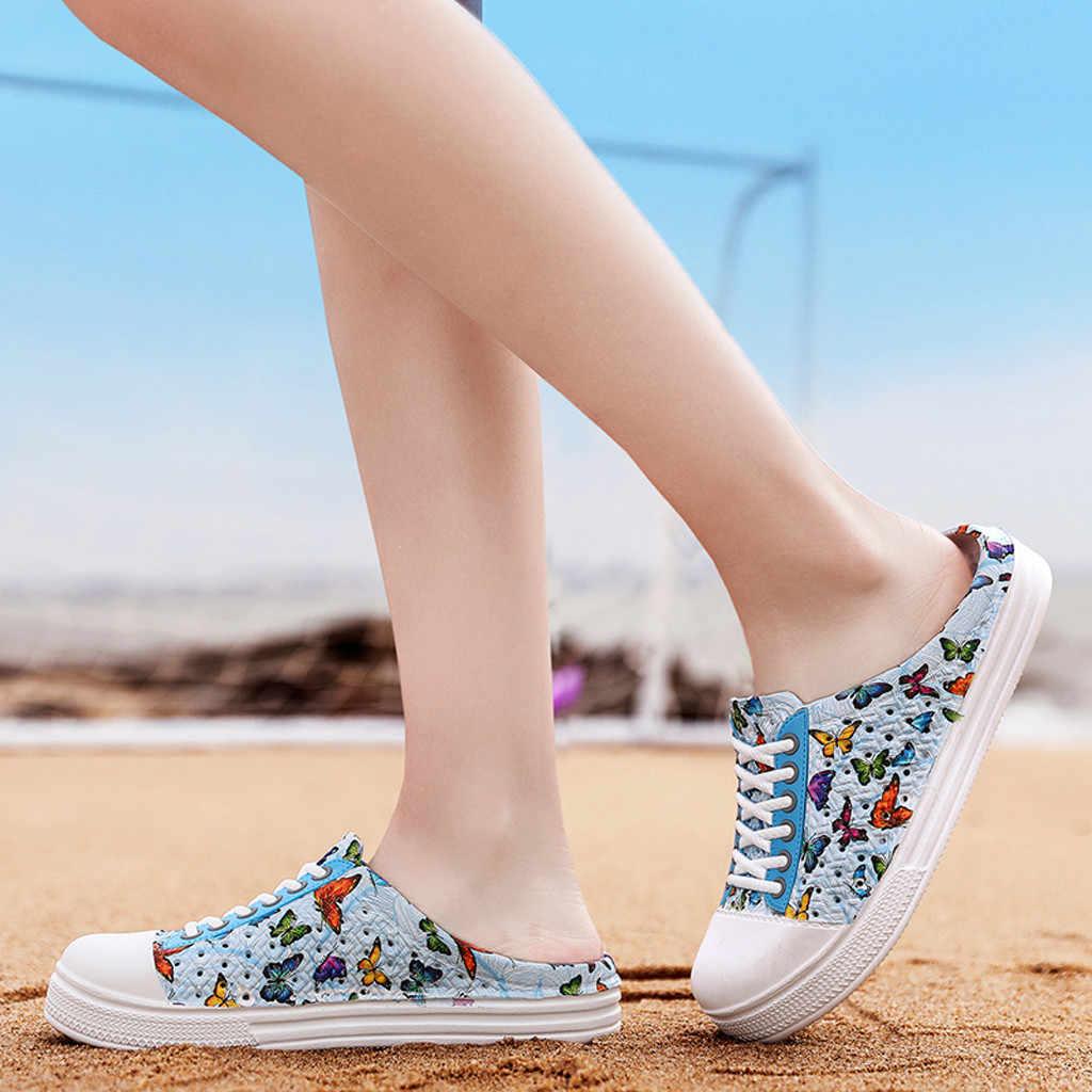 Phụ Nữ Mùa Hè Phẳng Nữ Đi Biển Cho Khoét Hở Casual Giày Thoáng Khí Người Phụ Nữ Dép Cột Dây Đế Giày Sandalia Feminina
