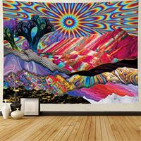 Trippy montanha sol árvores abstratas tapeçaria colorido natureza