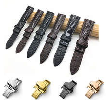 Genuine Crocodile Leather Watchband 14mm 16mm 18mm 19mm 20mm 21mm 22mm Watches Strap Coffee Black Butterfly Buckle Watch Band quality handmade genuine butterfly buckle lizard leather strap 18mm 21mm 22mm right brown leather strap
