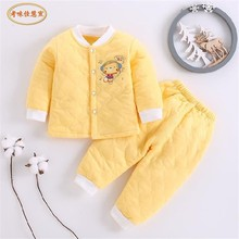 Baby Pajamas Set Toddler Quilted Thick Warm Casual Underwear Set Autum Winter Newborn Clothes for 0~2 years old Boy Girls