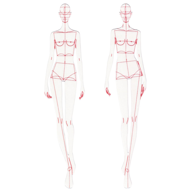 Fashion Design Ruler Cloth Design Line Drawing Apparel Garment Prototype Ruler Human Dynamic Template For Student Drawing