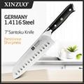 XINZUO 7-дюймовый нож Santoku кухонные ножи из нержавеющей стали бренд Din 1 4116 нож шеф-повара с ручкой из черного дерева