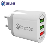 ESVNE Usb Charger Quick Charge 3.0 For Xiaomi Huawei 3 Port Usb Wall Charger For iphone Samsung Fast Charger For Smartphone orico dcap 5u 5 port usb wall charger for tablet and smartphone