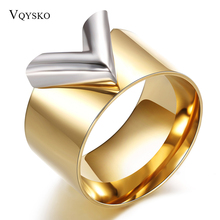 Fashion Famous Brand Women Ring Jewelry Double Color 18K Gold Plated Titanium Steel High Polished Luxury