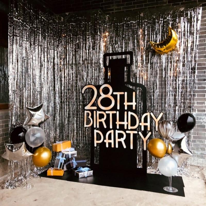 2 м мишура металлическая бахрома из фольги фон занавес s Свадебная вечеринка украшение стены фото стенд фон мишура блестящие занавески золо...