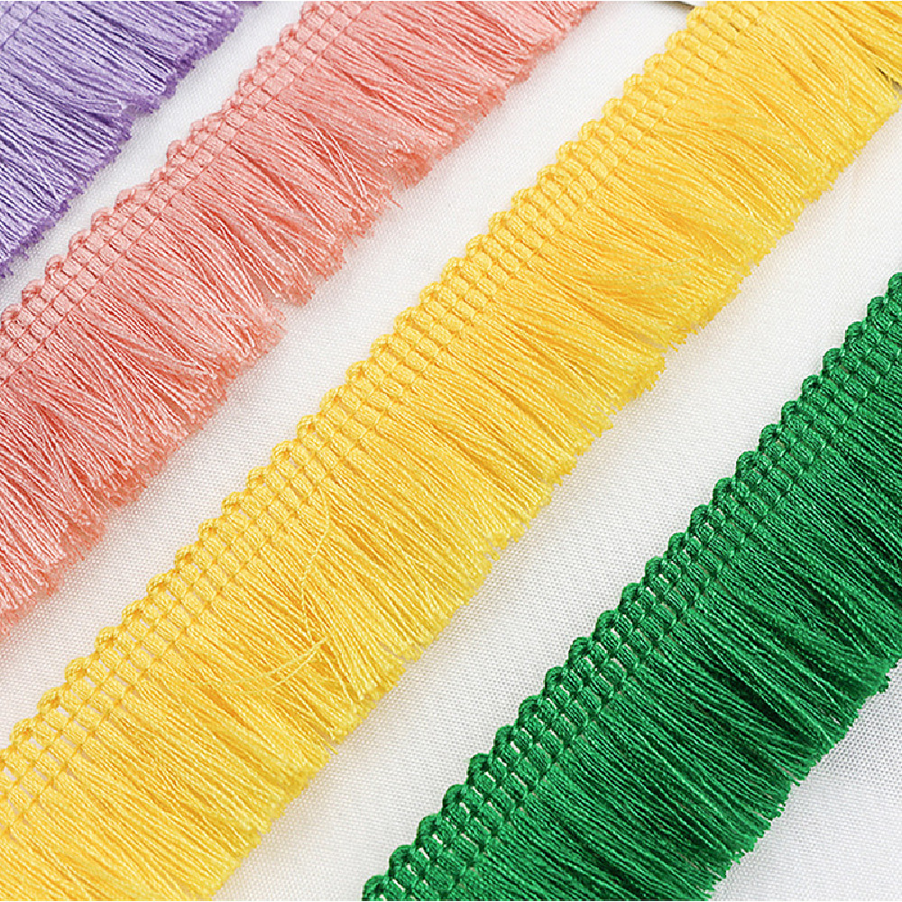 YACKALASI 25 Yds/Lot Short Fringe Tassel Polyester Trimming Hanging Fringe For Curtain Dance Dress Appliques Trims 2.5cm Long
