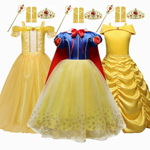 Golden Belle Dress Kids Cosplay Costume Girl Princess Dress for Girls Snow White Role Play Dress Beauty and the Beast Clothes